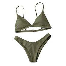 Our army green Miami bikini looks really sophisticated; it has a triangular shape and is wire-free padded bikini top and a low waist bottom. The top has a clip and elastic bands in the back that makes this set fit your body perfectly.