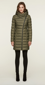 Lightweight Down Coat with Asymmetrical Closure