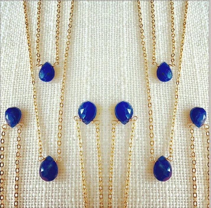 petite single sapphire 14k Gold teardrop necklace