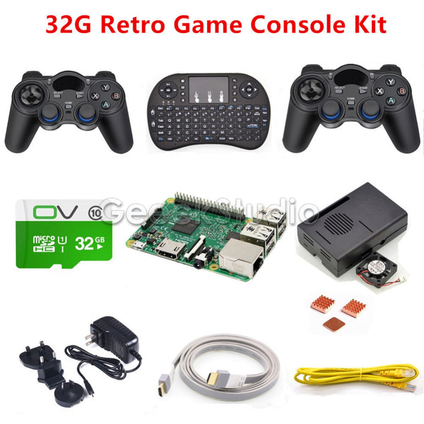 Raspberry Pi 3 Model B 32GB RetroPie Game Kit with Wireless Controllers Gamepad Joypad Joystick