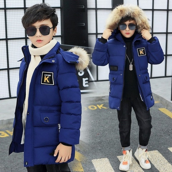 #2020 New Winter Jacket For Boys Teenage Fur Hooded Outerwear Parka Thicker Cotton -30 Russia Overcoat Clothes