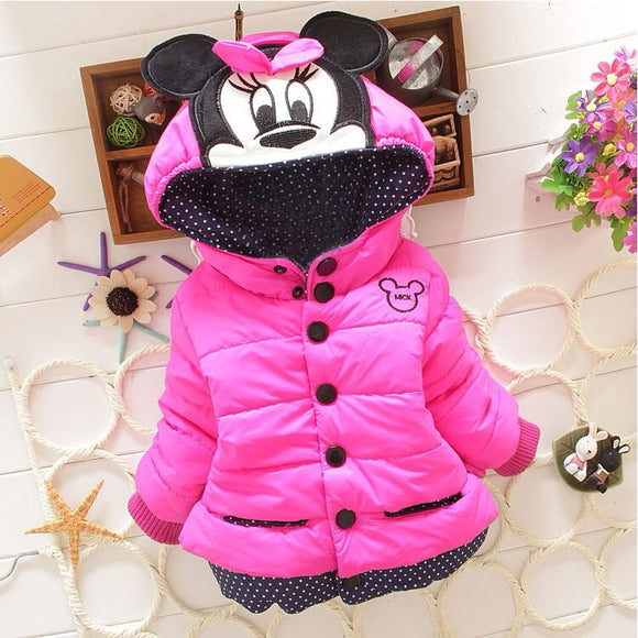 New Girls jackets  Minnie Disney ; winter\autumn warm and casual for 1-5 years old Kids jackets