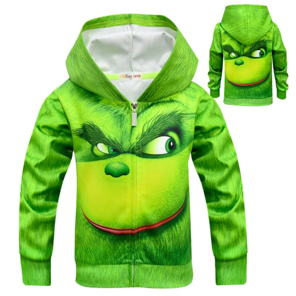 #GRINCH face 3D Clothes Boys Hoodies Kids Sweatshirts Cartoon Kids  GRINCH Costume
