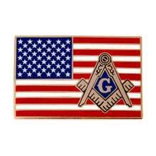 Load image into Gallery viewer, Freemason American Flag Enamel Pin