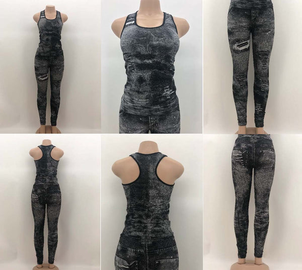 Black and Grey Faux Jean Print Active-Wear Set  (12 Pack)