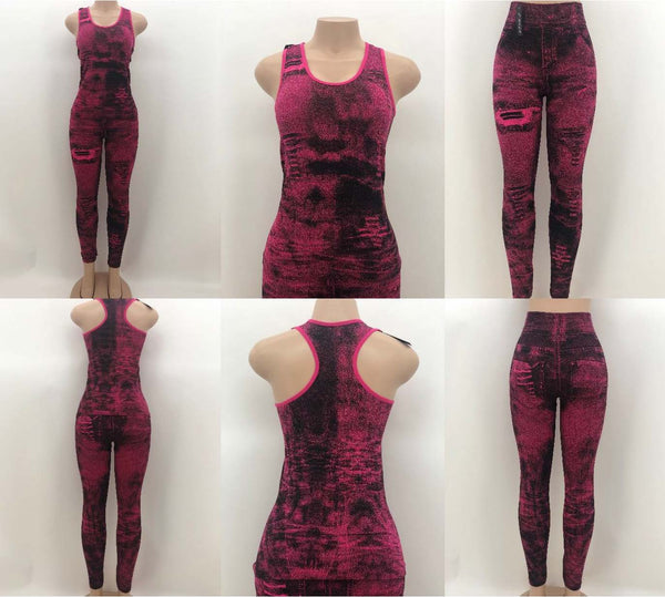 Black and Fuchsia Faux Jean Print Active-Wear Set  (12 Pack)
