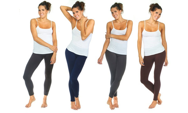 Solid high waist fleece Leggings (4 Pack)