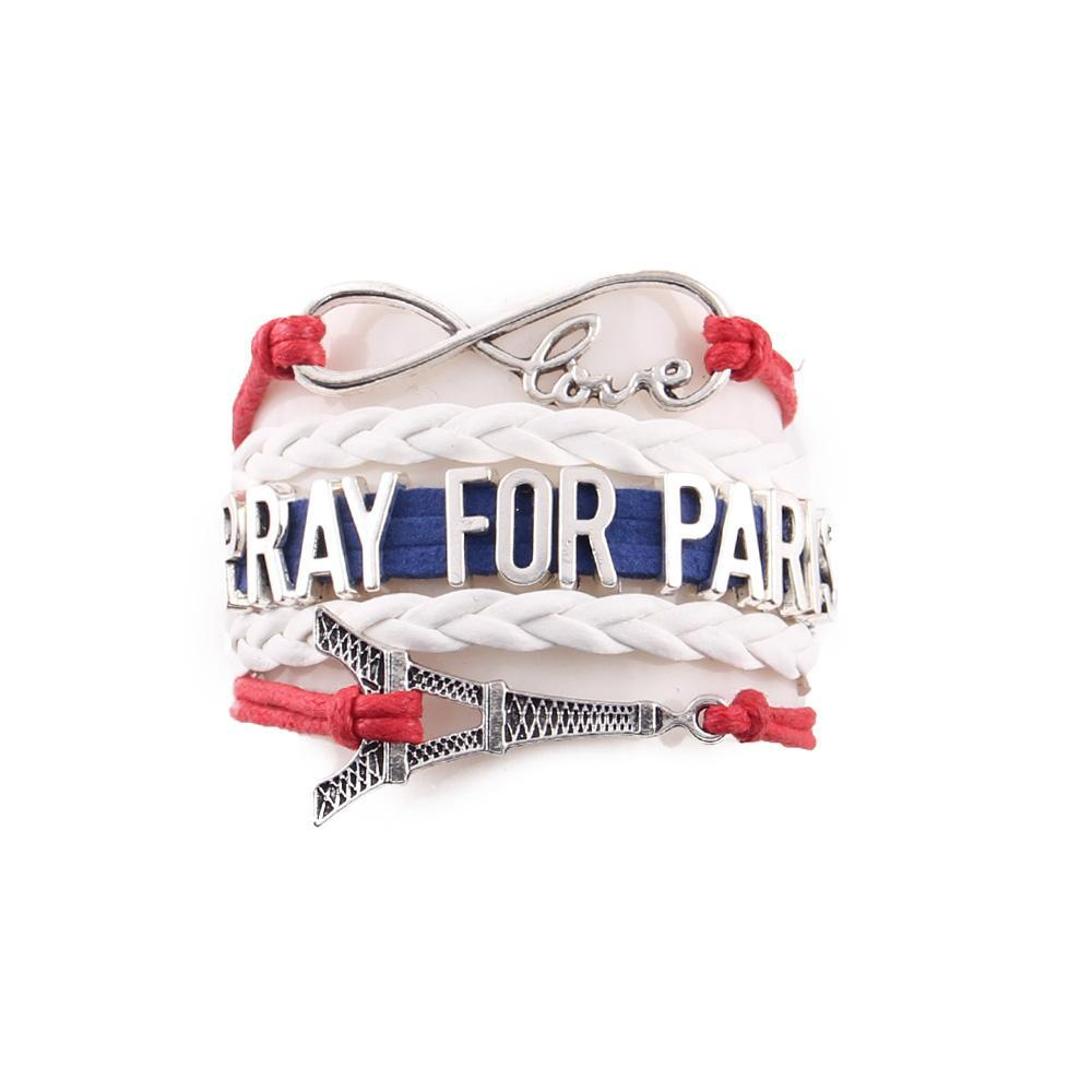 Bracelet Love Paris. Pray for Paris Bleu Blanc Rouge
