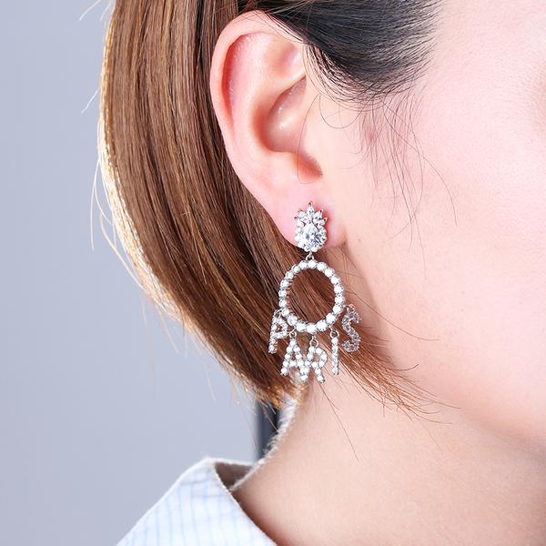Boucles d'oreilles zircon Love Paris