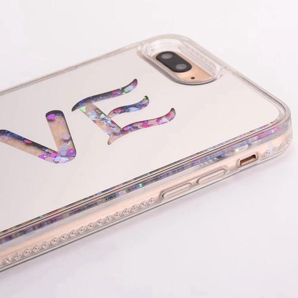 Coque Iphone love paillettes