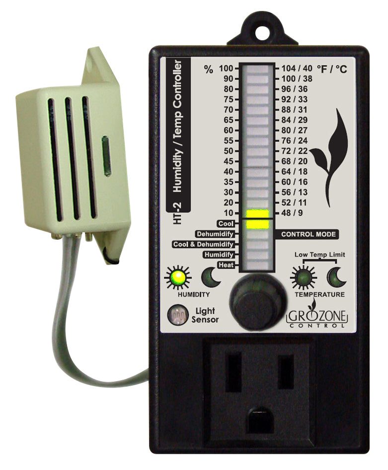 Grozone Control HT2 Climate Controller (Temp and RH) Single Output Bar Graph Display