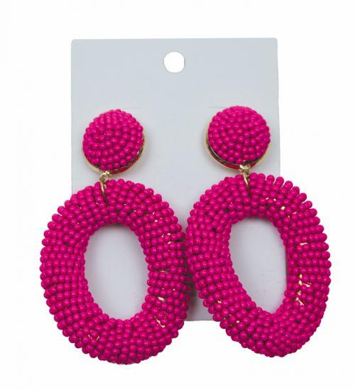 MINI BEAD DROP HOOP EARRINGS