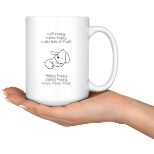 Soft Puppy, Warm Puppy White 15oz Mug