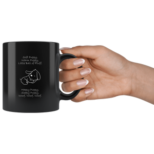 Soft Puppy, Warm Puppy Black 11oz Mug