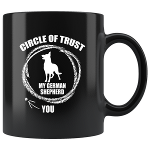 German Shepherd Circle of Trust Black 11oz Mug