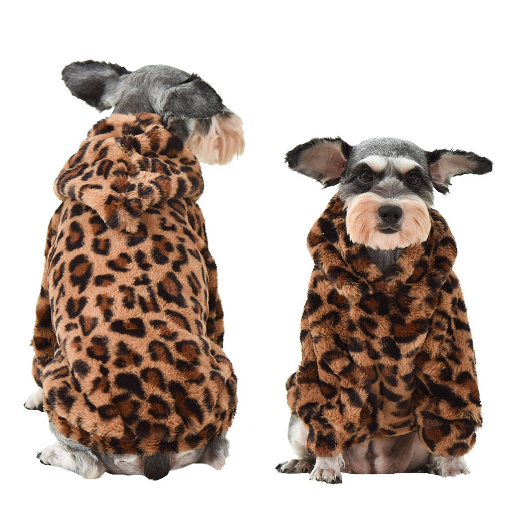PETZZ Luipaard Fleece Warme Trui - Warme Hond in Winter - Hondenhoek Jas