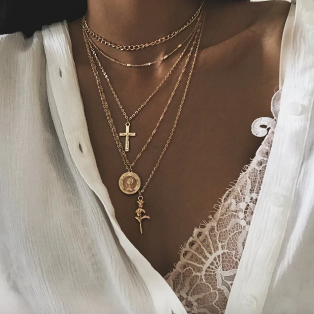 Rose Gal Layered Chain