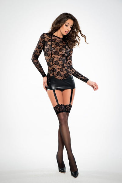 Lace Corselette Inspired Dress w/Garter