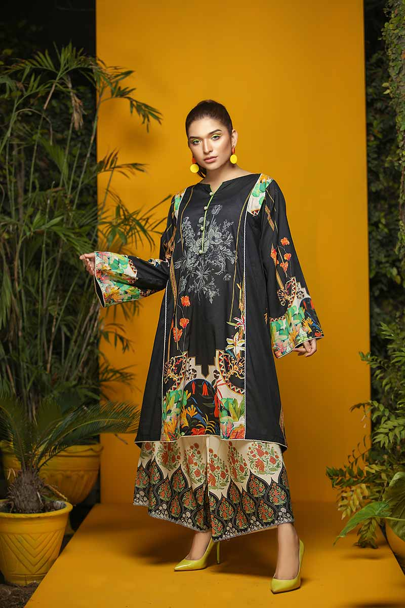 PRINTED LAWN / BLACK FLORAL FUSION