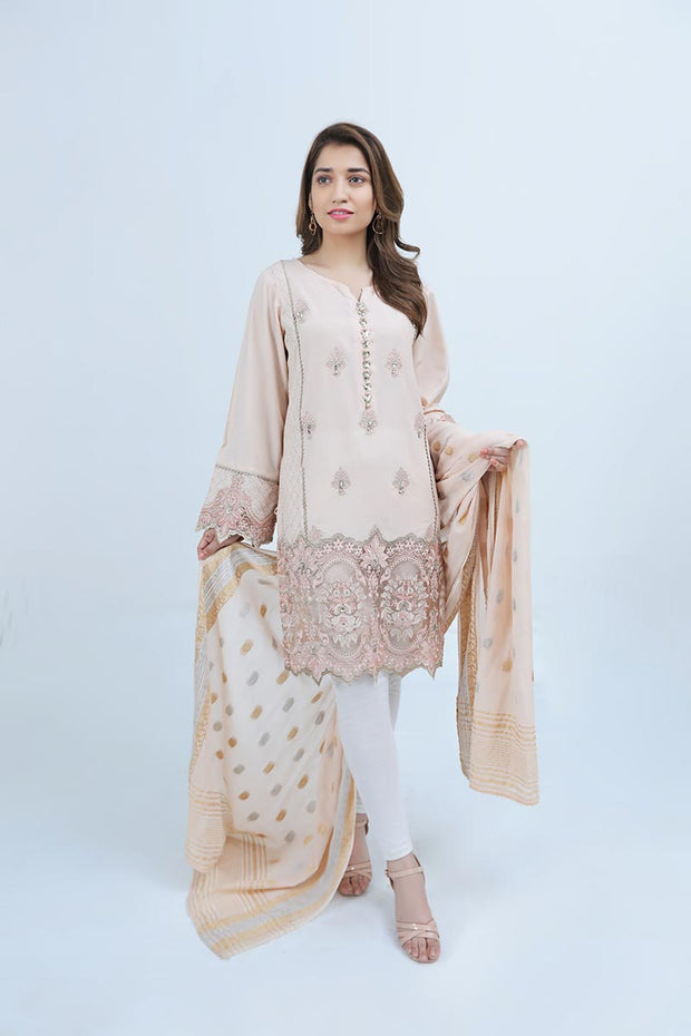 EMBROIDED LAWN  / POWDER PINK SHINE - Jacquard.pk