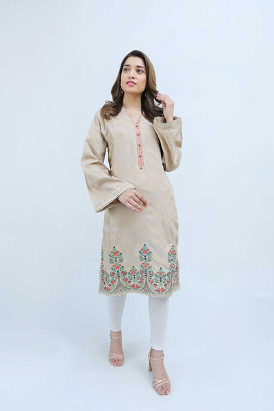 JACQUARD SHIRT / BEIGE AND GOLDS - Jacquard.pk