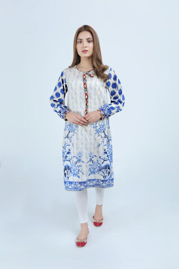 FANCY LAWN / BLUE AND WHITE - Jacquard.pk