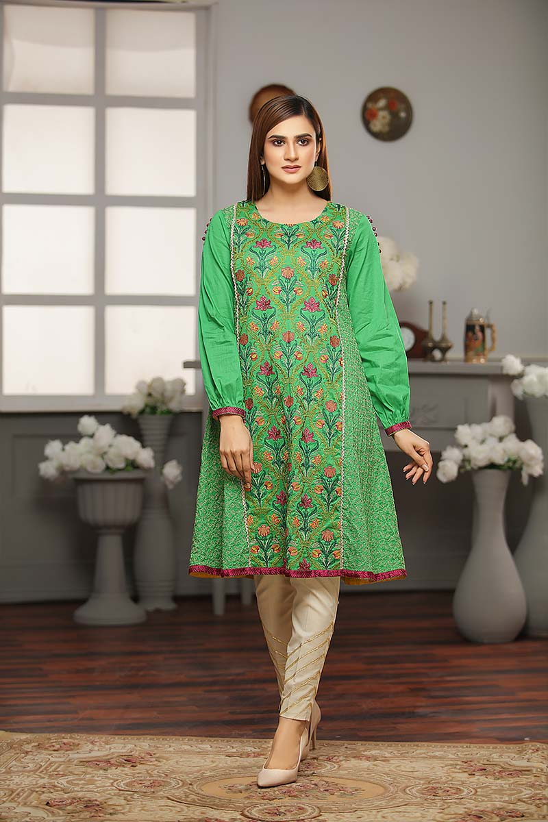 LAWN EMBROIDERED / GREEN MIST