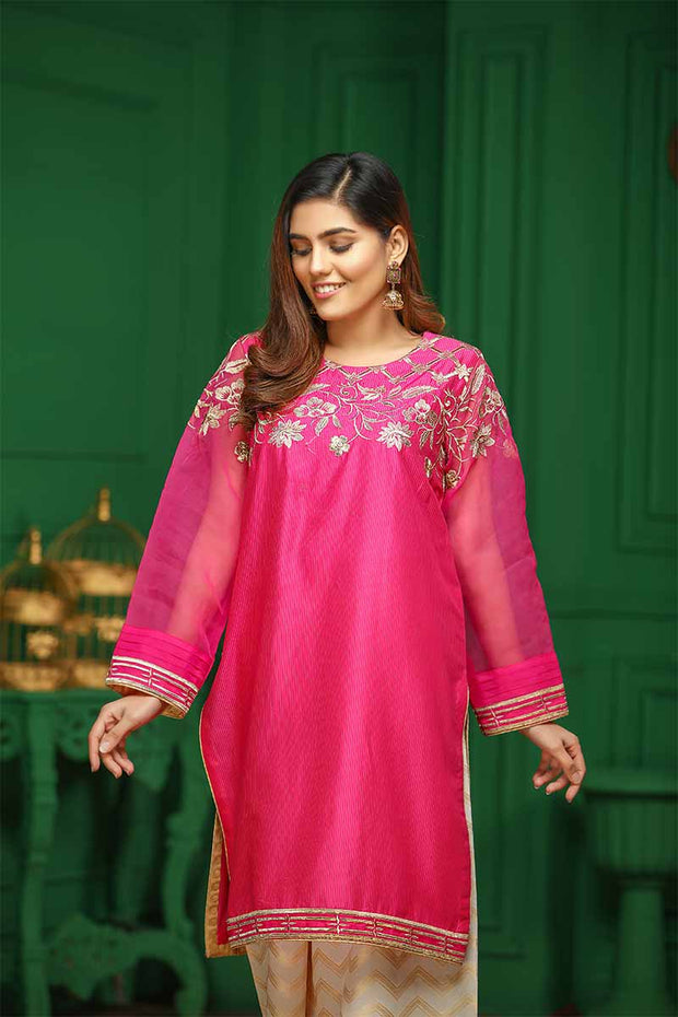 LAWN EMBROIDERED / PINK POLKA - Jacquard.pk