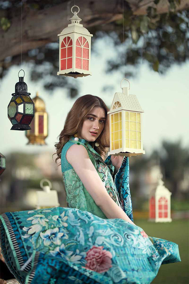 UNSTITCHED / PRINTED MASOORI LAWN / SEA GREEN TWIST - Jacquard.pk