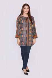 JBACD-639 - MUZAFFARABAD Designer Dress, crepe shirt with blue jeans