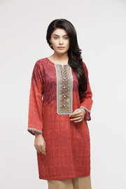 jbadl-693- Women's Luxury Fashion ISLAMABAD, Embroidered round neck digital printed shirt