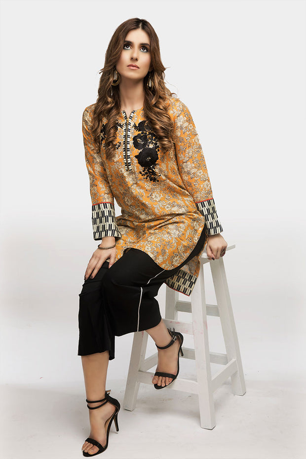 jbadl-694-Luxury Digital Design Clothing FAISALABAD, digital printed lawn shirt with high low straight zip neck