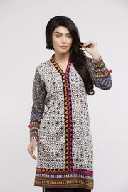 jbadl-695-Online Designer Dress ABBOTABAD, Embroidered v neck shirt