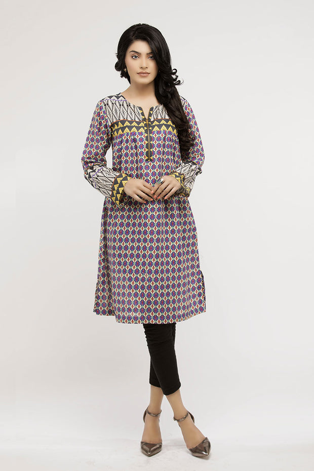 jbadl-716 - GOJRA Designer Dress, flared lawn shirt with round zip neckline