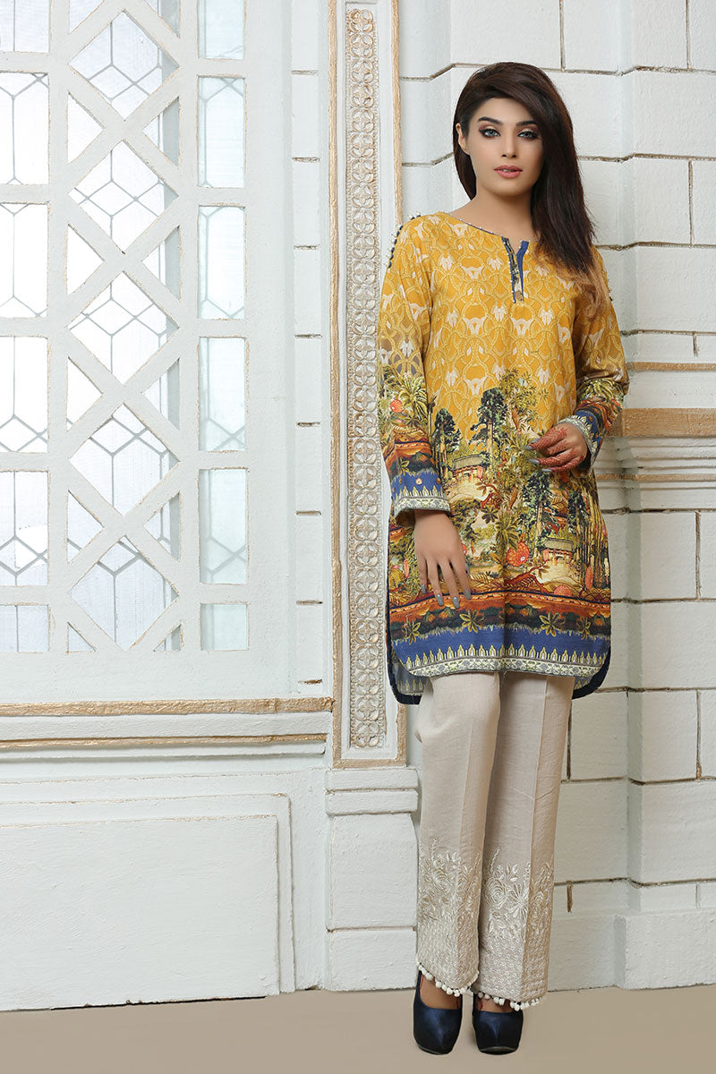 JBAKD-652 - MIRPUR AJK Designer Dress, yellow digital printed shirt with white pants