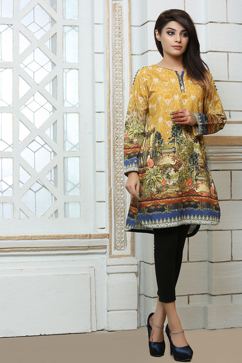 JBAKD-652 - MIRPUR AJK Designer Dress, yellow digital printed shirt with black pants