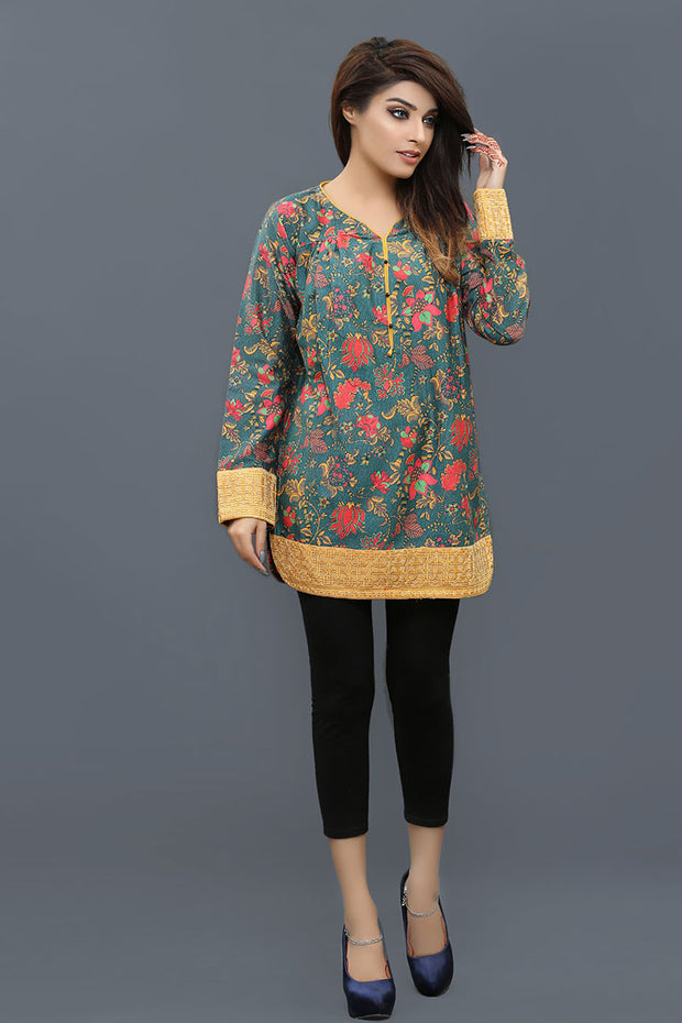 JBASD-667-A -Lahore Designer Dress, floral purple shirt with black pants by Jaquard