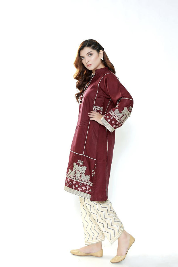 MAROON CROSS STITCH - Jacquard.pk