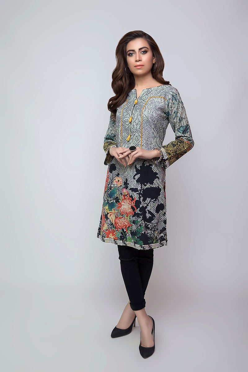 Women's Luxury Fashion ISLAMABAD, grey floral shirt with black trouser