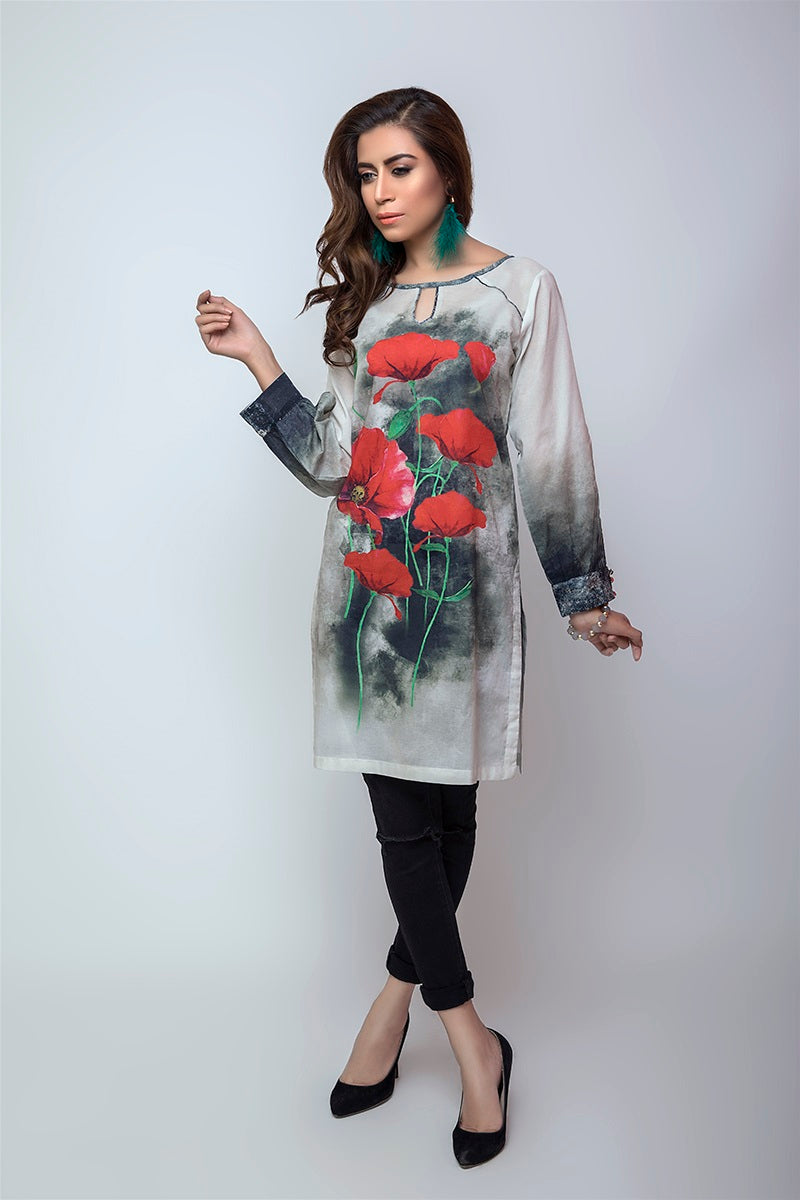 Women's Luxury Fashion GOJRA, white shirt with red flowers and black trouser