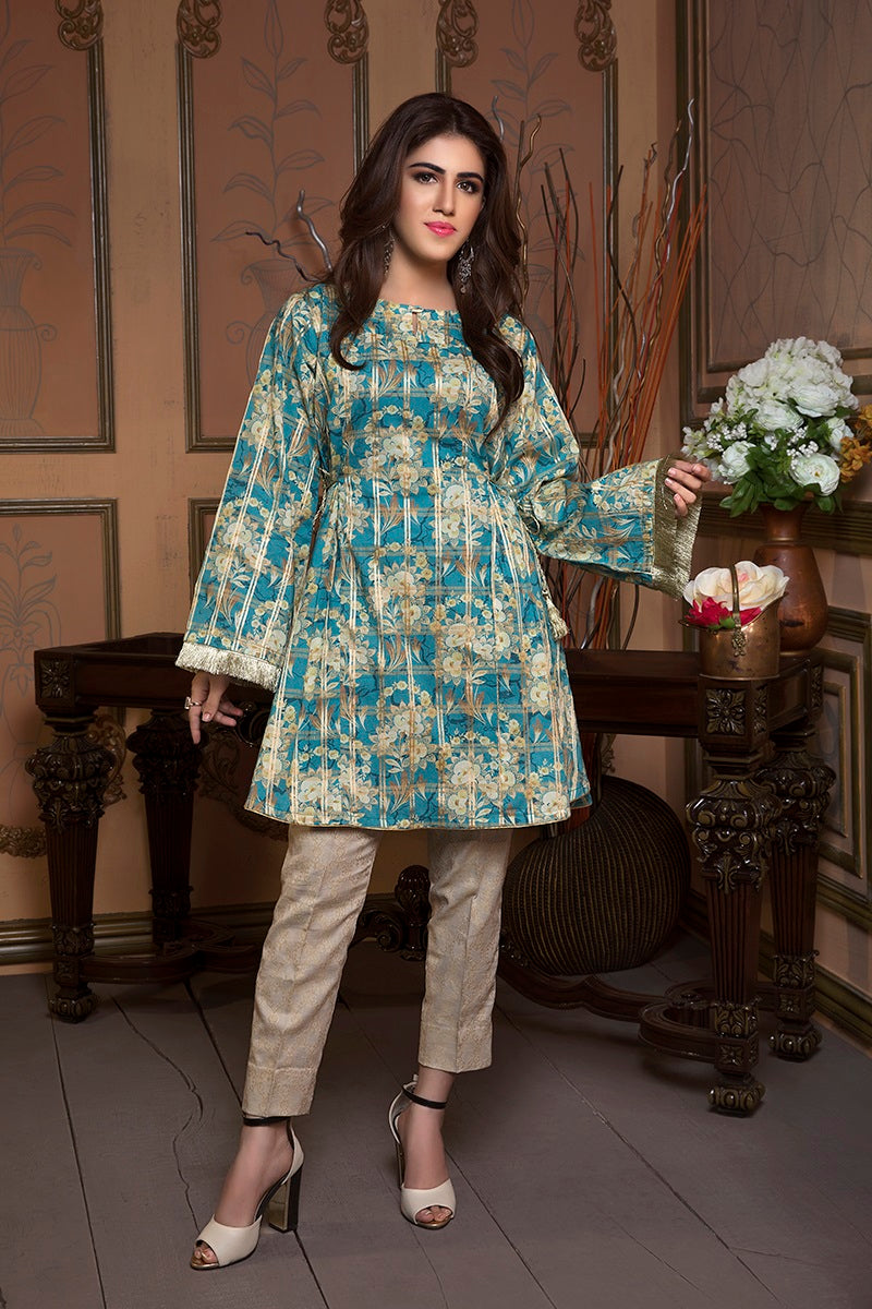 Luxury Digital Design Clothing MULTAN, Engraved with different green shades shirt and beige trouser