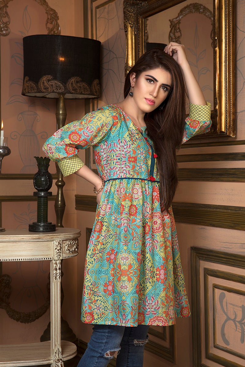 Online Designer Dress PESHAWAR, light green with pink flowers shirt and blue jeans