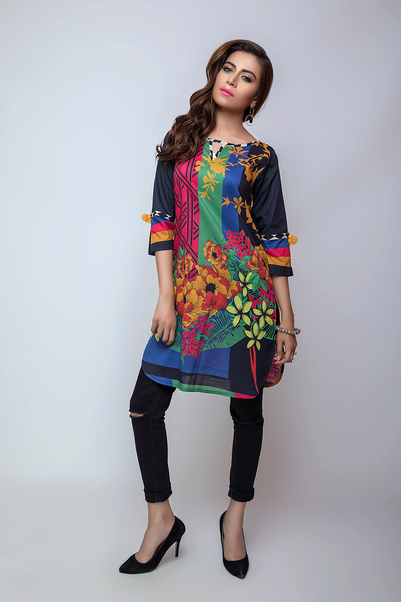 Online Designer Dress BAHAWALPUR, printed black shirt along with blue, pink and green colors, and black trouser