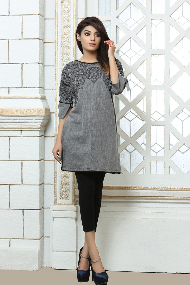 JSSC-618 - formal FAISALABAD Designer Dress, grey kurta and black pants