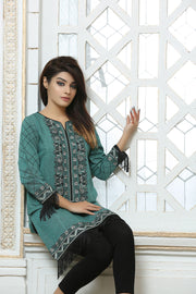 JSSC-647 - stylish Online Designer Dress ABBOTABAD, Turquoise kurta and black pants