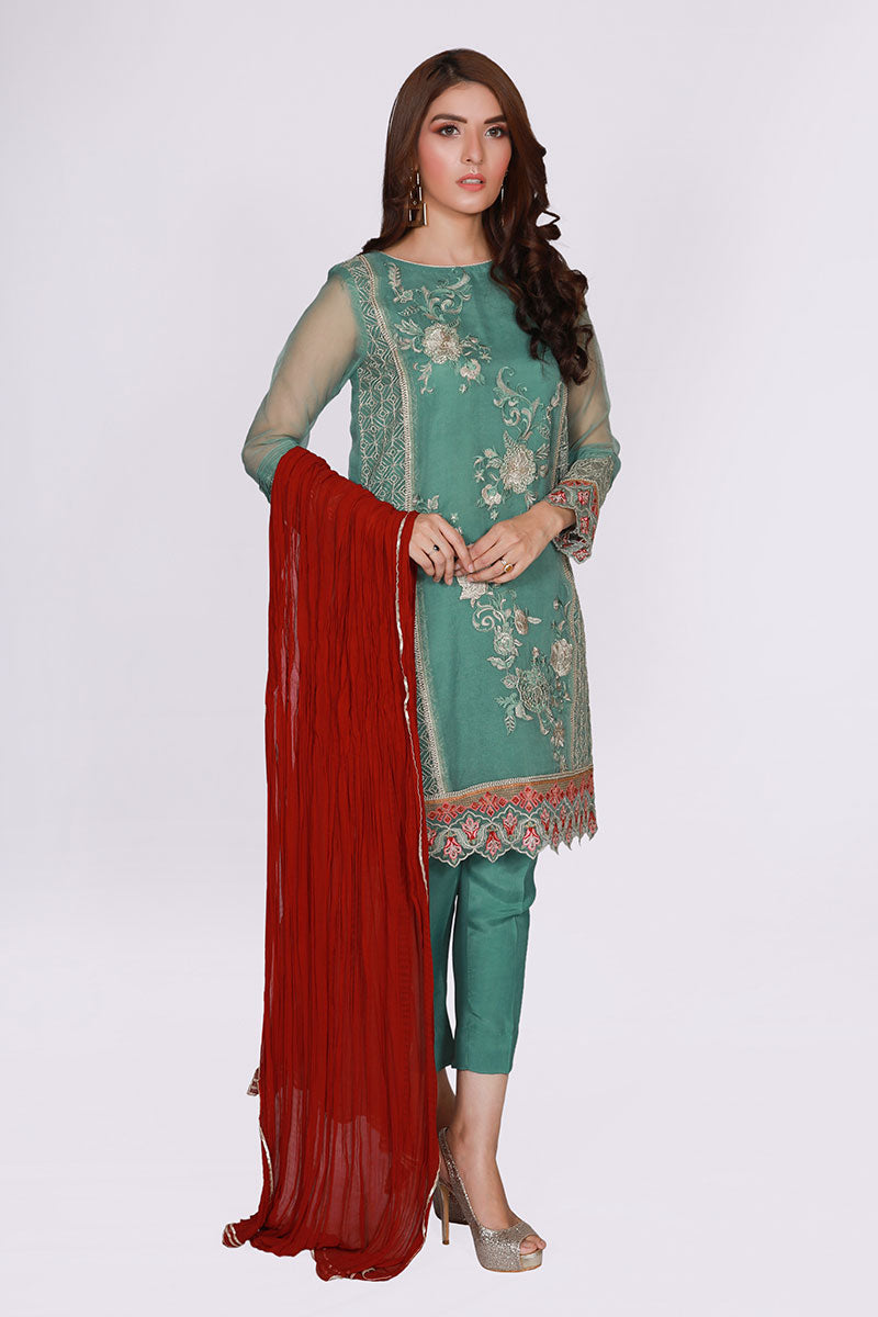JSSF-585 - PESHAWAR Designer Dress, Turquoise kurti and pants with red dobatta by jacquard