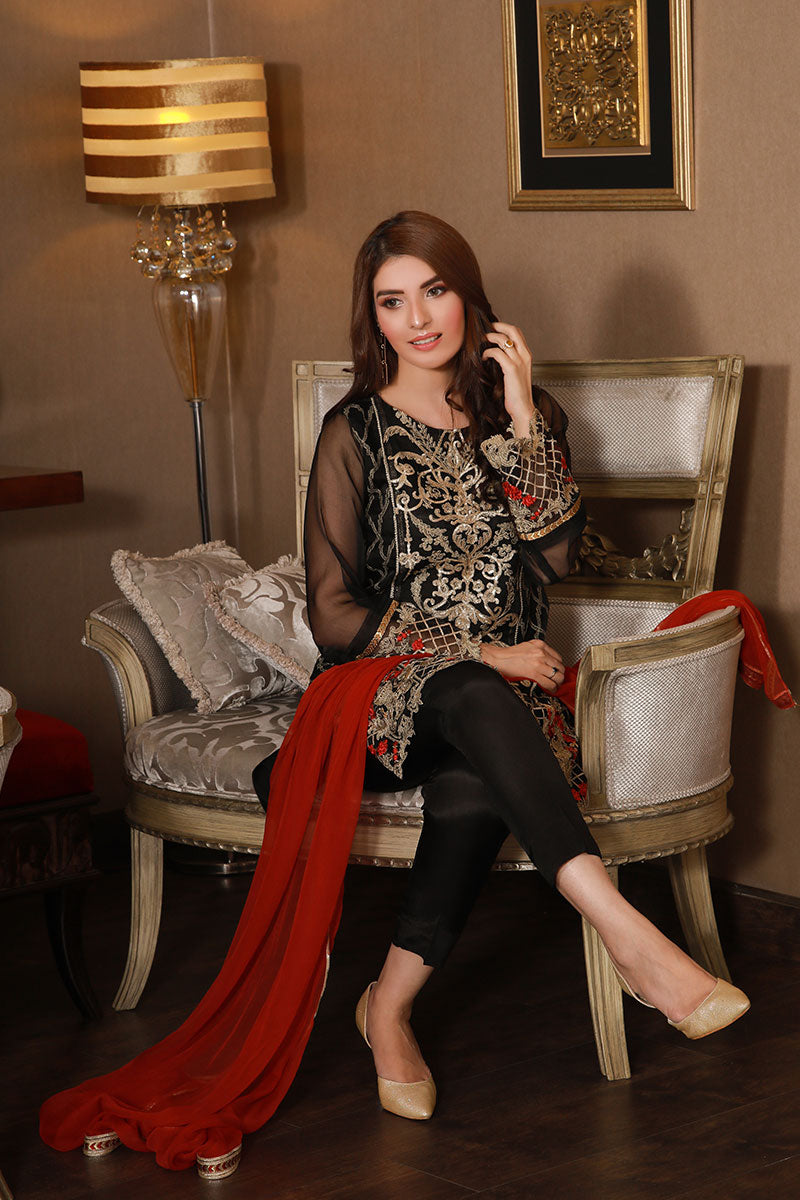 JSSF-622 - ABBOTABAD Designer Dress, ornaments black shirt, pants and red duppata by Jacquard