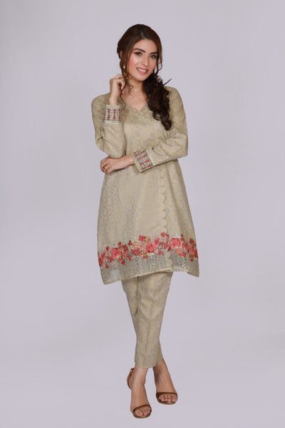 jssc-617-Women's Luxury Fashion SARGODHA, baige kurta and trouser