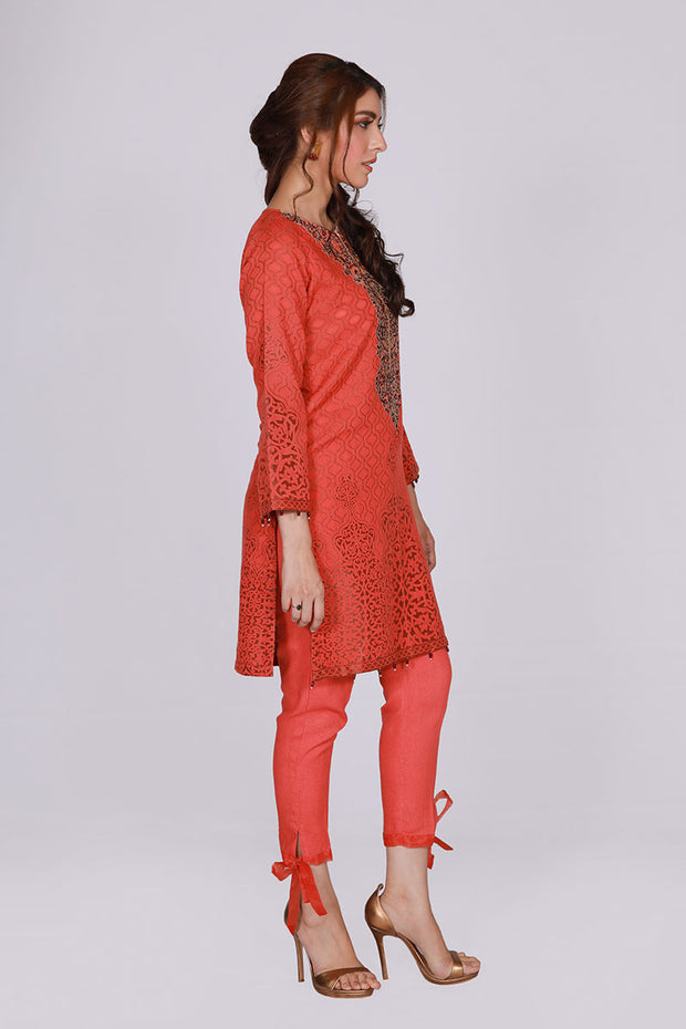 JSSJ-628 - BAHAWALPUR Designer Dress , orange shirt and pants by jacquard