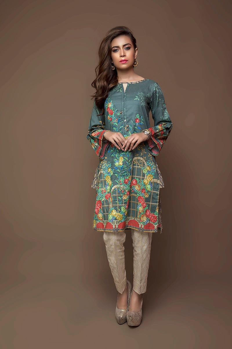 Luxury Digital Design Clothing FAISALABAD medium green shirt with digital printed ornaments and beige trouser